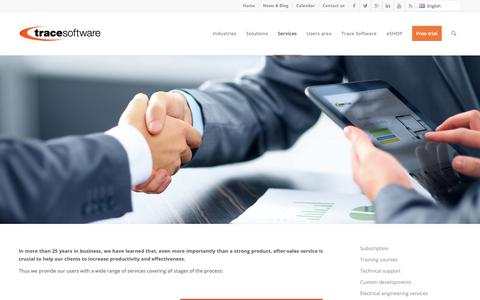 Screenshot of Services Page trace-software.com - Our Services | Trace Software - captured Sept. 30, 2018