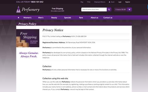 Screenshot of Privacy Page perfumery.com.au - Privacy Policy - captured July 12, 2016