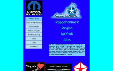 Screenshot of Home Page rappahannockmopars.com - Rappahannock Mopars - captured Jan. 27, 2018
