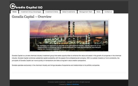 Screenshot of Home Page goradiacapital.com - Goradia Capital – Chemical Industry Investment Group    - captured Sept. 2, 2017