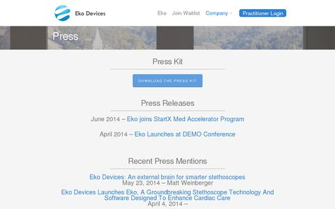Screenshot of Press Page ekodevices.com - Press | Eko Devices » The Worlds Most Intelligent Stethoscope - captured July 19, 2014