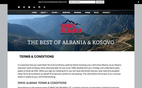 Screenshot of Terms Page drivealbania.com - Terms & Conditions | Drive Albania - captured Jan. 7, 2016