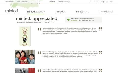 Screenshot of Testimonials Page minted.com - Minted.com: Wedding Invitations, Party Invitations, Baby Shower, Birthday & Save The Date Cards - captured Aug. 11, 2017