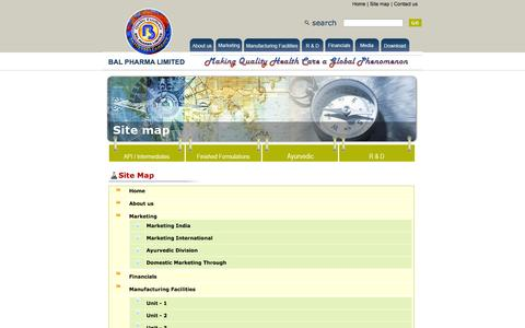 Screenshot of Site Map Page balpharma.com - BAL PHARMA LIMITED - captured Oct. 5, 2014