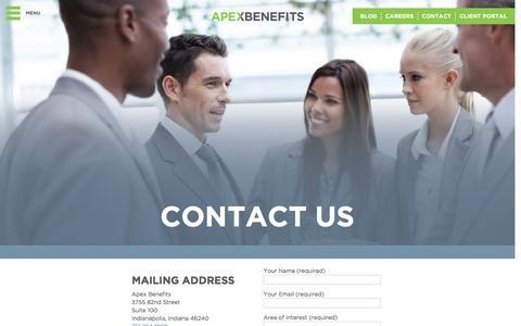 Screenshot of Contact Page apexbg.com - Contact Us - captured Feb. 6, 2016