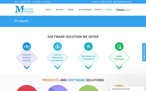 Screenshot of Products Page metizsoft.com - Products and Software Built by Metizsoft Solutions - captured Aug. 23, 2017