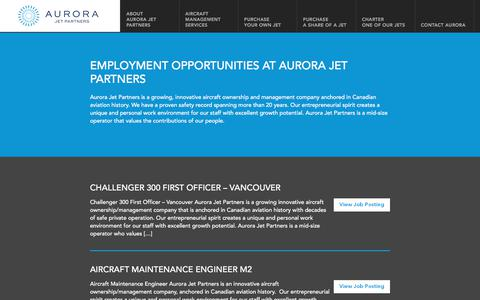 Screenshot of Jobs Page aurorajet.ca - Jobs | Aurora Jet Partners - captured Oct. 9, 2017