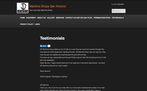 Screenshot of Testimonials Page jb-machine.com - JB Machine Testimonials - CNC Milling Machine Testimonials - captured Aug. 2, 2015