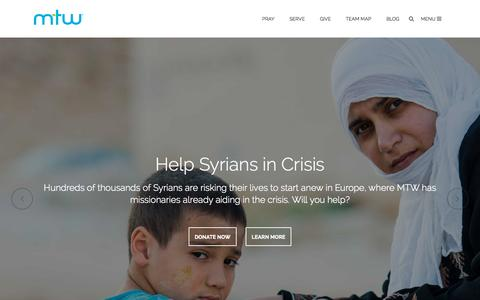 Screenshot of Home Page mtw.org - Home -                 Mission to the World - captured Oct. 6, 2015