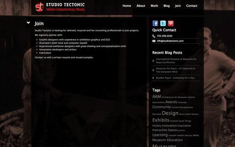 Screenshot of Signup Page studiotectonic.com - Join   Studio Tectonic - Exhibition & Interpretive Design / Planning - Boulder/Denver Colorado - captured Oct. 9, 2014