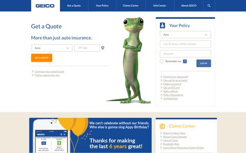 Screenshot of Home Page geico.com - GEICO | Auto insurance - Saving people money on more than car insurance - captured Oct. 20, 2015