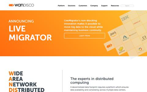 Screenshot of Home Page wandisco.com - WANdisco - captured July 20, 2019