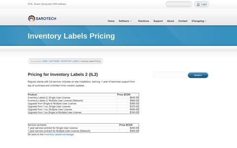 Screenshot of Pricing Page sarotech.ca - Inventory Labels Pricing - Sarotech Inc. - captured Jan. 27, 2018