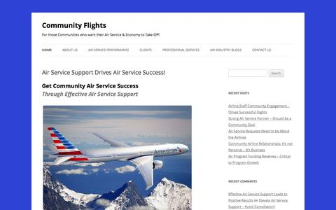 Screenshot of Home Page communityflights.com - Air Service Support Support Drives Air Service Success! - captured Sept. 30, 2014