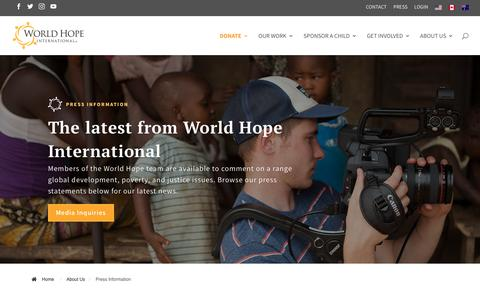 Screenshot of Press Page worldhope.org - Press Information | World Hope International - captured Oct. 20, 2018