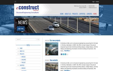 Screenshot of Press Page econstruct.us - News - eConstruct, USA.LLC - Omaha, NE - captured Nov. 13, 2016