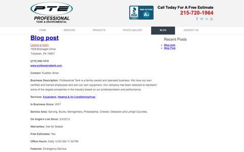 Screenshot of Blog professionaltank.com - Blog   Professional Tank & Environmental   www.professionaltank.com - captured Sept. 30, 2018