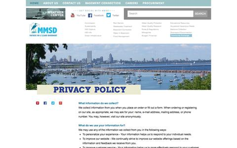 Screenshot of Privacy Page mmsd.com - Milwaukee Metropolitan Sewerage District | Privacy Policy - captured Oct. 26, 2014