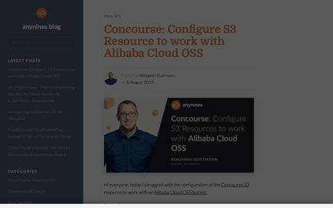 Screenshot of Blog anynines.com - The Cloud Foundry consultancy - Consulting, Training, Development, CF Data Services and Operations|anynines blog - captured Aug. 8, 2019