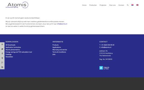 Screenshot of Jobs Page atomis.nl - Vacatures - Atomis - captured Oct. 9, 2017