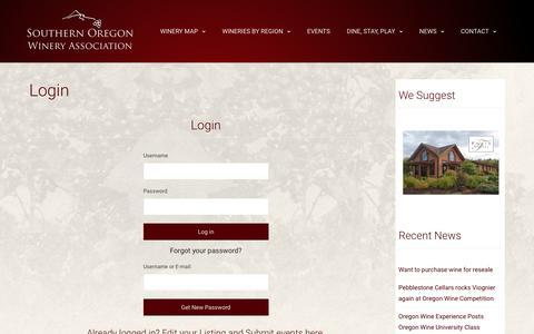 Screenshot of Login Page southernoregonwines.org - Login – Southern Oregon Winery Association – Your Guide to Wine in Southern Oregon - captured March 28, 2017