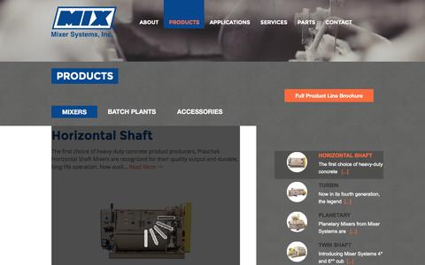 Screenshot of Products Page mixersystems.com - Products - Mixer Systems - captured Feb. 25, 2016