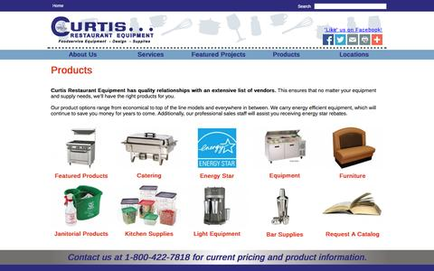 Screenshot of Products Page curtisresteq.com - Curtis Restaurant Equipment - captured Oct. 3, 2014