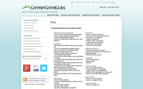 Screenshot of FAQ Page greenergreengrass.com - Organic Lawn Care | Frequently Asked Questions - captured Sept. 30, 2014