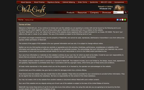 Screenshot of Privacy Page Terms Page walzcraft.com - Terms of Use and Privacy Policy | WalzCraft - captured Oct. 27, 2014
