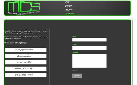 Screenshot of Contact Page auz.biz - MCS Contact Us - captured Oct. 4, 2014