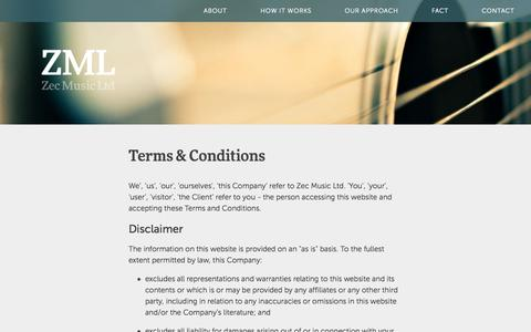 Screenshot of Terms Page zecmusic.com - ZecMusic - music for commercials - captured Oct. 7, 2014