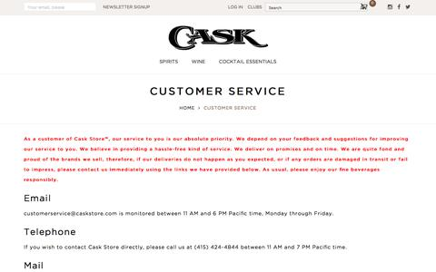 Screenshot of Support Page caskstore.com - Customer Service - captured July 16, 2018