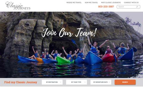 Screenshot of Jobs Page classicjourneys.com - Career & Employment Opportunities | Classic Journeys - captured March 19, 2018