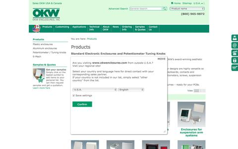 Screenshot of Products Page okwenclosures.com - Electronic Enclosures, Potentiometer Knobs   OKW - captured Dec. 6, 2016