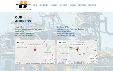 Screenshot of Maps & Directions Page bondquip.com - Mineral Processing | Dense Media Seperation | Bond Equipment | DIRECTIONS - captured Oct. 6, 2018