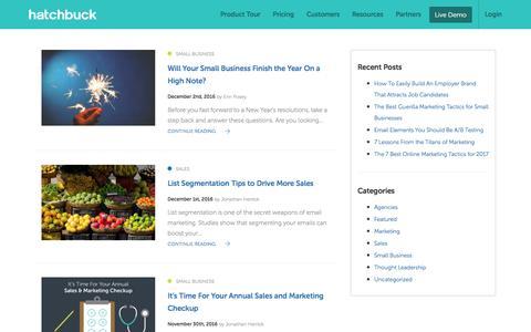 Screenshot of Blog hatchbuck.com - Blog for Small Business - Hatchbuck - captured Jan. 13, 2017