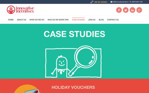 Screenshot of Case Studies Page innovativeincentives.in - Business case studies, Marketing case studies - captured July 11, 2017
