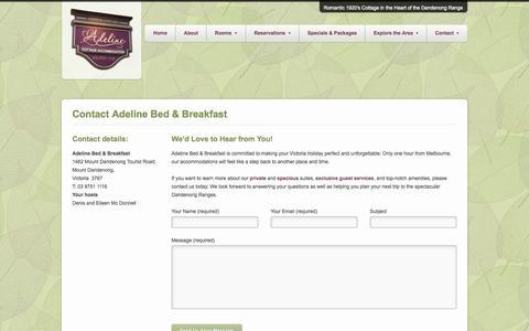 Screenshot of Contact Page adeline.com.au - Contact Adeline Bed & Breakfast - Adeline Bed and Breakfast - captured Oct. 4, 2014