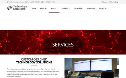 Screenshot of Services Page technologyarch.com - Services - Technology Architects - captured Sept. 24, 2018