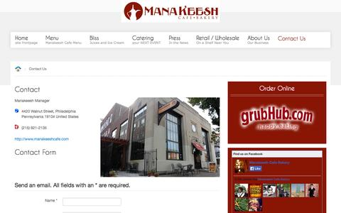 Screenshot of Contact Page manakeeshcafe.com - Contact Us - captured Oct. 4, 2014