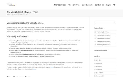 Screenshot of Signup Page energynarrative.com - The Weekly Brief: Mexico – Trial | Energy Narrative - captured July 14, 2016