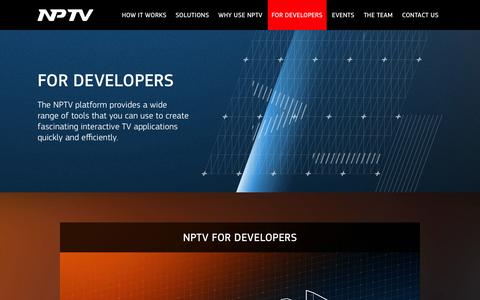 Screenshot of Developers Page nptv.co.uk - NPTV. For developers - captured Sept. 17, 2014
