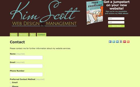 Screenshot of Contact Page kimscottwebdesign.com - Contact Kim Scott Web Design - captured Sept. 30, 2014