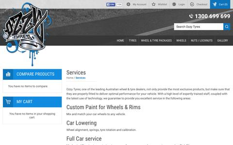 Screenshot of Services Page ozzytyres.com.au - Services | Ozzy Tyres - captured Oct. 20, 2015