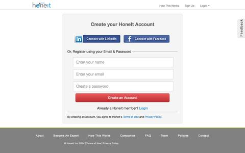 Screenshot of Signup Page honeit.com - Registration | HoneIt - Take Your First Round Interview With Us - captured Sept. 30, 2014