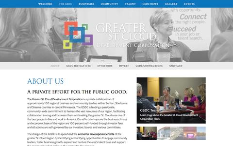 Screenshot of About Page greaterstcloud.com - About — Greater St. Cloud Development Corporation - captured Nov. 15, 2016