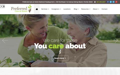 Screenshot of Home Page preferhome.com - Senior In�Home Care Services - Preferred Care at Home - captured Jan. 16, 2016