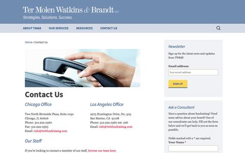 Screenshot of Contact Page twbfundraising.com - Contact Us - Ter Molen Watkins & Brandt - captured Oct. 26, 2014