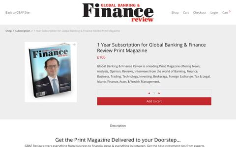 1 Year Subscription for Global Banking & Finance Review Print Magazine – GBAF Review Magazine Subscription Advertisements