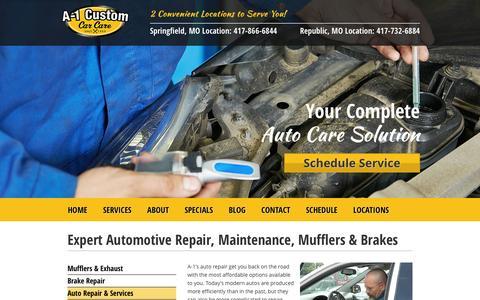 Screenshot of Services Page a-1customautorepair.com - Expert Automotive Repair, Maintenance, Mufflers & Brakes - captured Feb. 3, 2016